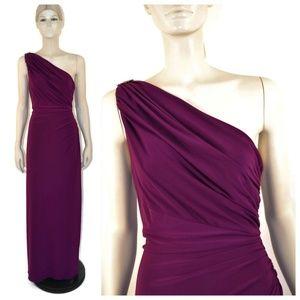 Ralph Lauren Purple One Shoulder Jersey Gown 12